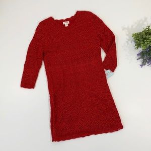 Cat & Jack Red Lace Sweater Dress